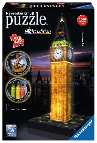3D-Puzzle: 216 Teile - Night Edition: Big Ben